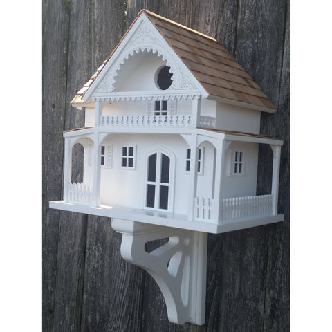 Outdoor Bird Houses on Post Island Summer Cottage - White