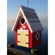 Wood Birdhouse Dockside Cabin  - Red
