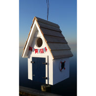 Wood Birdhouse Dockside Cabin Birdhouse - White