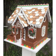 Decorative Outdoor Wooden Birdhouse Gingerbread Candy Cottage