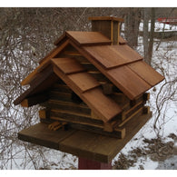 Wooden Birdhouse Conestoga Log Cabin Birdhouse Natural Cedar