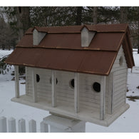 Large Birdhouse Martinsburg Manor White Wash with Brown Roof