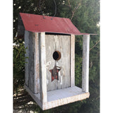 Backyard Birdhouse Bird Shack - White with Red Roof