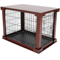 Dog Crate with Wood Table Crate Cover