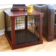 Dog Cage with Wood Crate Table Cover