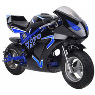 Gas Pocket Bike GT 49cc 2-stroke Blue, Gas Powered Ride On Vehicles - SavvyNiche.com