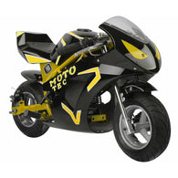 Gas Pocket Bike GT 49cc 2-stroke Yellow, Gas Powered Ride On Vehicles - SavvyNiche.com