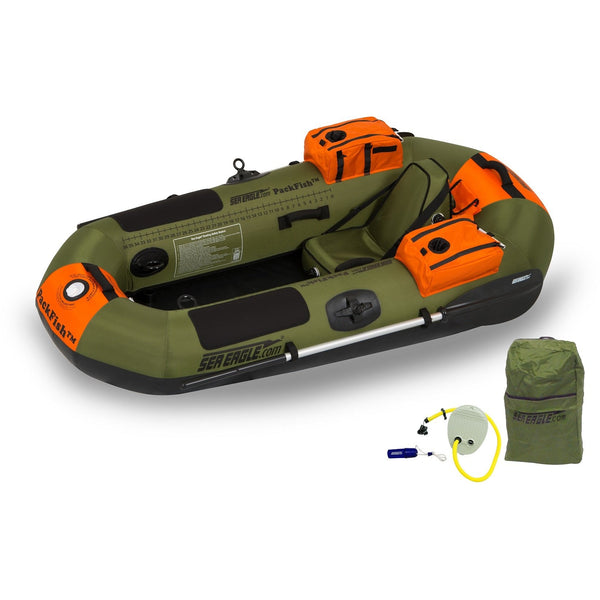 Sea Eagle Packfish PF7 Inflatable Fishing Boat Deluxe Package, Inflatable Kayak - SavvyNiche.com