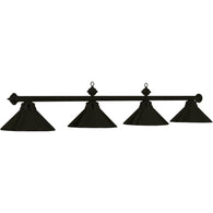 Matte Black Four Light Pendant, Metal Pool Table Lighting - SavvyNiche.com