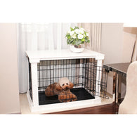 Small Dog Crate Cage with white tabletop crate cover