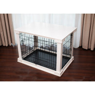 Dog Crate Cage and White Tabletop Crate Cover