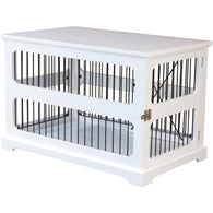 Pet Dog Cage Crate and Side End Table white