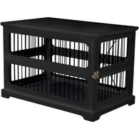 Pet Dog Cage Crate and Side End Table Black