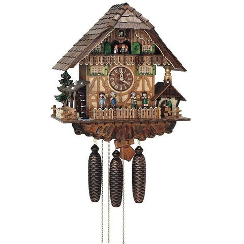 Cuckoo Wall Clock Band Musicians Ringing Bell, 8 Day Musical Chalet Cuckoo Clocks - SavvyNiche.com