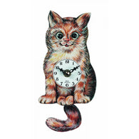 Novelty Kids Clock Butters Moving Eyes Cat with Tail Pendulum