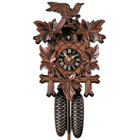 "<img src=""http://site.mycuckooclocks.com/best-seller-1.jpg"" width=40 height=40 border=0><br>Traditional<br><font color=black><b>""CLASSIC STYLE""</b></font><br>14"" Leaves & Bird<br>8 Day Movement"