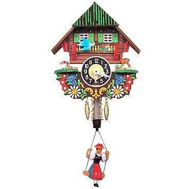 Black Forest<br>Chalet Clock:<br>Bouncing<br>Black Forest Girl