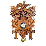 Black Forest Carved Clock:<br>Leaf & Bird<br>with Dancers