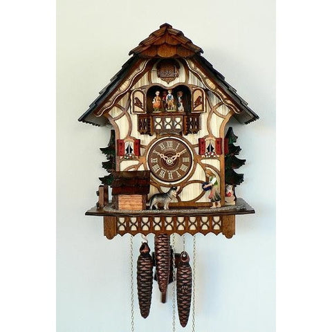 Black Forest Cuckoo Clock Girl, Dog, Dancers, 1 Day Musical Chalet Cuckoo Clocks - SavvyNiche.com