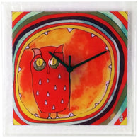 Square Glass Art Clock with Owl