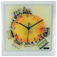 Square Glass Art Clock with Train