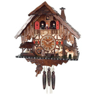 Cuckoo Clock Cottage with Beer Drinker, Waterwheel, and Dancers