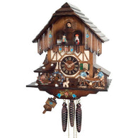 Musical Cuckoo Clock with Men Sawing Wood, Waterwheel, and Dancers