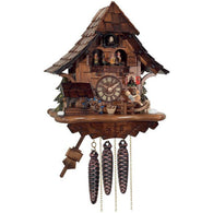 Musical Cuckoo Clock Cottage with Boy on Rocking Horse
