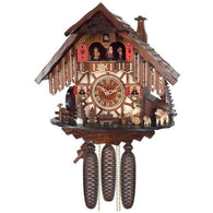 Musical Cuckoo Clock Cottage with Beer Drinker and Moving Waterwheel