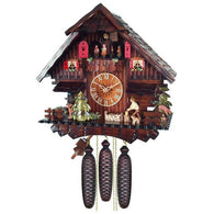 Musical Cuckoo Clock Cottage with Man Chopping Wood