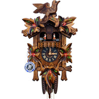 Musical Cuckoo Clock Painted Leaves, Bird, Dancers, 1 Day Musical Cuckoo Clocks - SavvyNiche.com