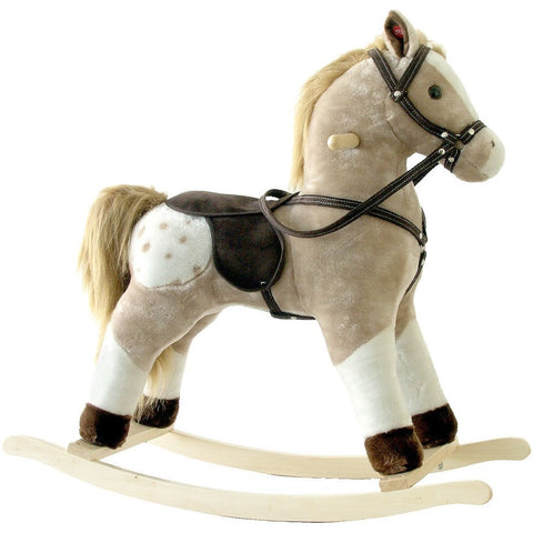 Plush Rocking Horse Brown and White Pinto, Plush Rocking Horses - SavvyNiche.com