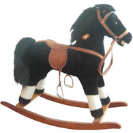 Plush Rocking Horse Black and White Pinto, Plush Rocking Horses - SavvyNiche.com