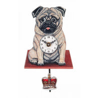 Novelty Kids Clock Oliver the Pug Moving Eyes Pug Clock