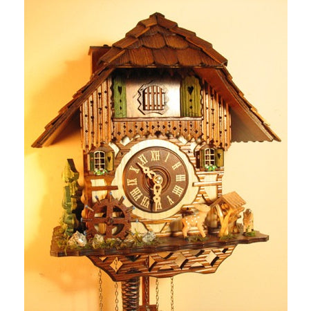 Chimney Sweep Deer in Forest Blacksmith & Horse Chalet Cuckoo Clock, 1 Day Chalet Cuckoo Clocks - SavvyNiche.com