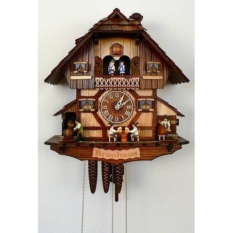 Cuckoo Wall Clock Beer Tapping Beer Drinkers, 8 Day Musical Chalet Cuckoo Clocks - SavvyNiche.com