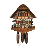 German Made Cuckoo Clock Wood Chopper - Spinning Wheel Grinder, 8 Day Musical Chalet Cuckoo Clocks - SavvyNiche.com