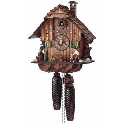 German Cuckoo Clocks Wood Chopper Lumberjack, 8 Day Chalet Cuckoo Clocks - SavvyNiche.com