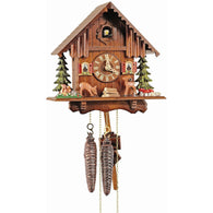 Wind Up Chalet Cuckoo Clock Moving Deer Forest Scene, 1 Day Chalet Cuckoo Clocks - SavvyNiche.com