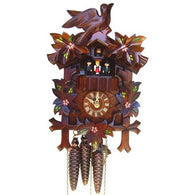 Musical Wind Up Cuckoo Clock Painted Flowers, Bird, Dancers, 1 Day Musical Cuckoo Clocks - SavvyNiche.com