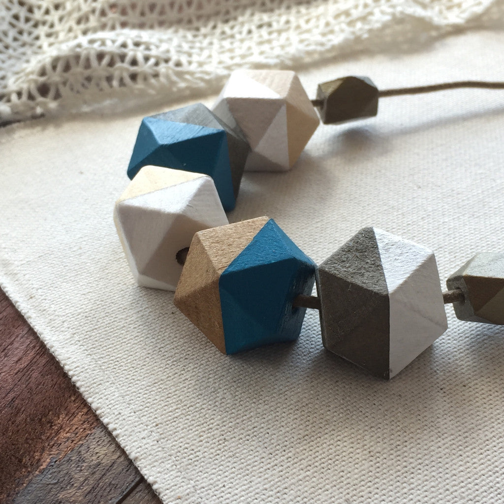 Blue and white wooden beachy geometric necklace