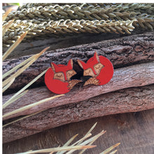 Fox wooden stud earrings in wild