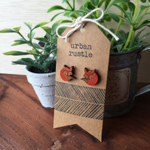 Wooden sleepy fox stud earrings