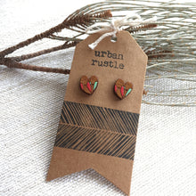 Pink Green lovebird wooden earrings