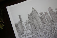 Manhattan skyline black white art illustration