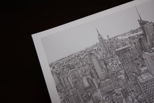 Manhattan skyline New York art drawing
