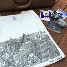 New York skyline print white T shirt