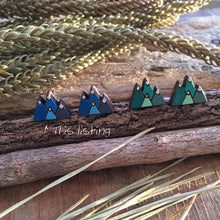 Blue and green mountain landscape wooden stud earrings