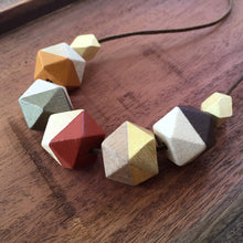 Autumn colours wooden geometric necklace on cotton cord