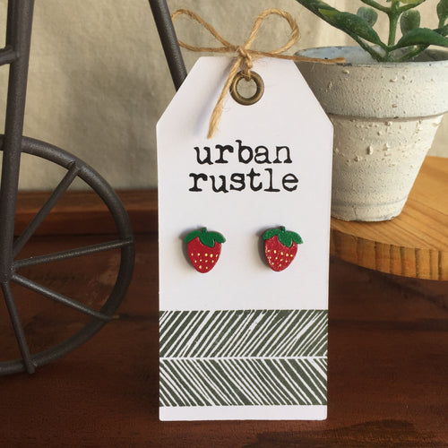 Red Strawberry wooden stud earrings